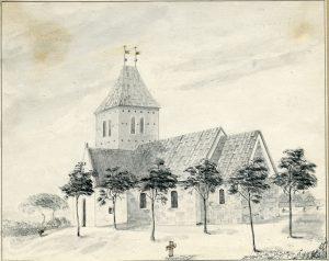 Blyantstegning af kirken