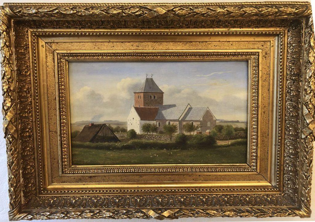 Maleri i en meget bred guldramme af Lyngå Kirke