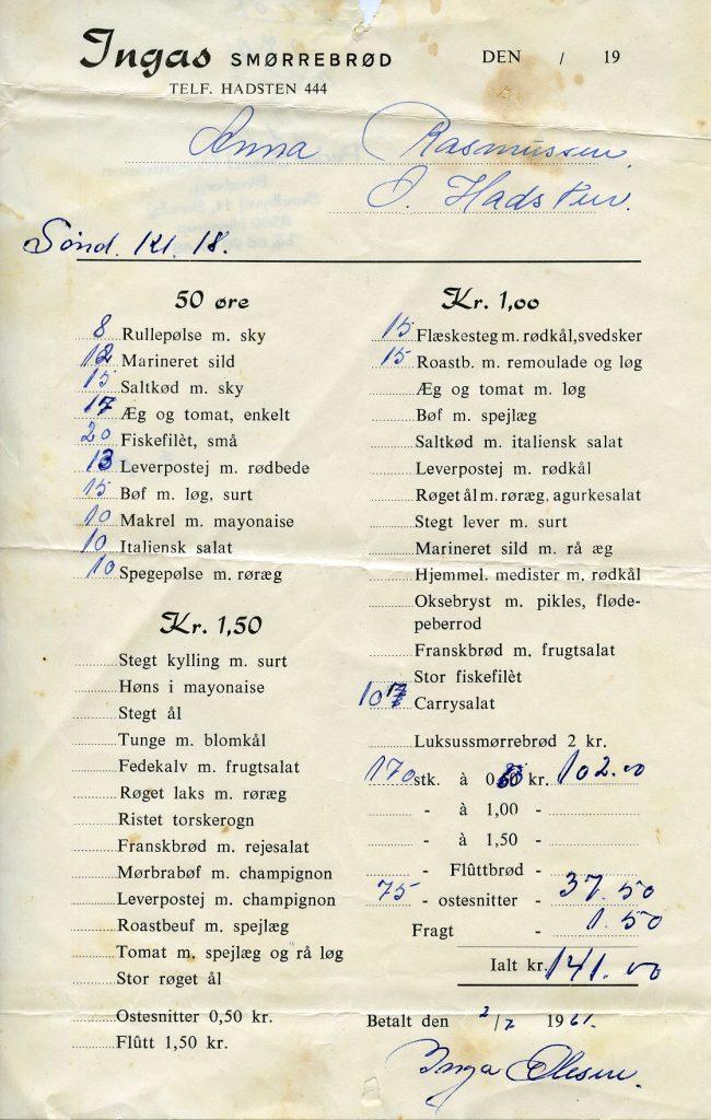 Foto af en regning på smørrebrød i 1961