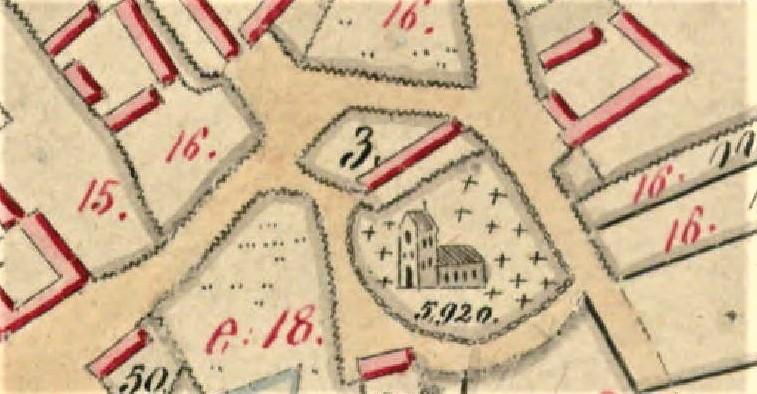 gammelt kort der viser hvor kirkeladen lå