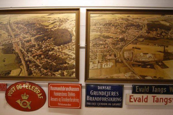 To luftfotografier med bygningsskilte under, eks. Post og Telegraf.