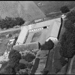 Luftfoto af pladsen hvor de to Drostrupgårde lå